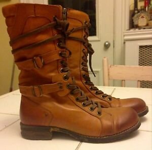 Tall Brown Leather Lace-Up Boots Size 40 (9.5) Peterborough Peterborough Area image 1