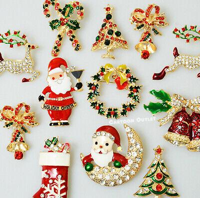 12 Christmas pins Brooch Lot Santa Christmas Tree Rhinestone Holiday Party New