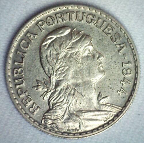 1944 Portugal Copper Nickel Escudo Coin Key Date Extra Fine Circulated