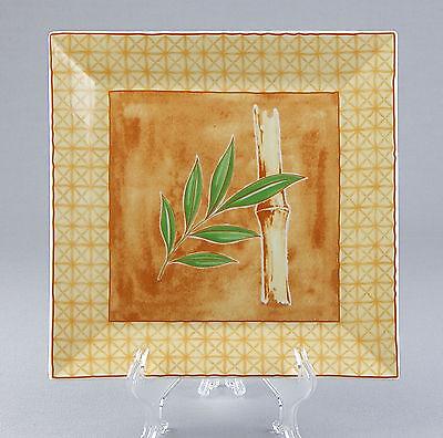 Square Dinner Plate, SUPERB! Muirfield, Falken Porzellan, Bavaria, Bamboo Bamboo Square Dinner Plate