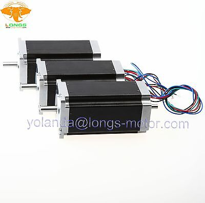 German Ship3 Pcs Nema 23 Dual Shaft Stepper Motor 425 Oz.in 3a 4 Leads Cnc