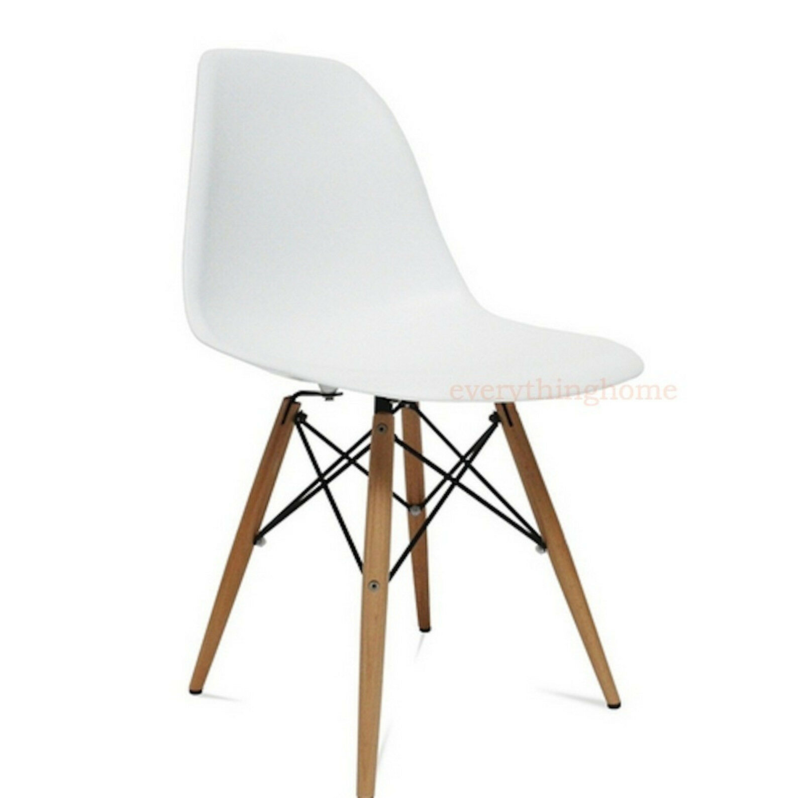 white eiffel plastic shell pyramid dining side chair wood leg dowel base