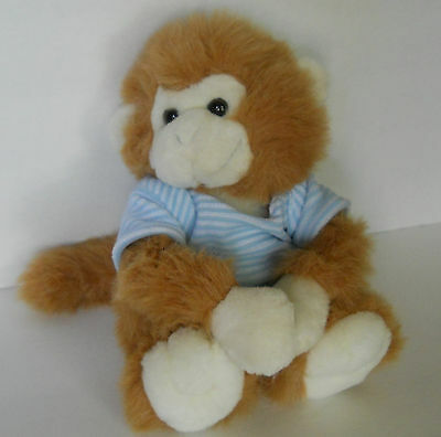 vtg magnetic baby monkey plush soft toy 10 in blue stripe shirt COMMONWEALTH