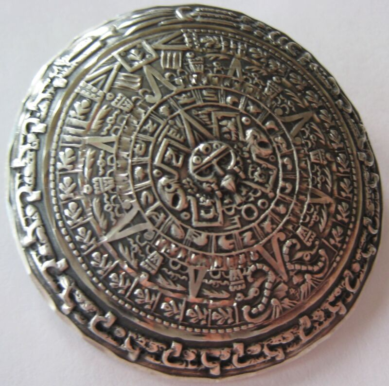 BOLD HAND MADE STERLING SILVER PENDANT PIN BROOCH MEXICAN AZTEC GOD SUN CALENDAR