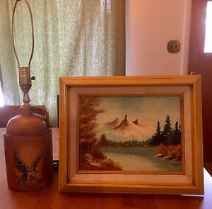 Vintage lamp base and oil painting