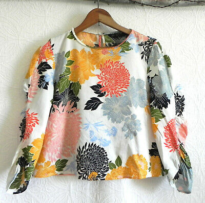 Zara Cropped Top Floral 3/4 Ruched Sleeve Pull Over 100%Cotton Size M