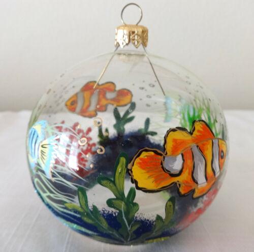 Glass Fish Christmas Ornament Hand Painted Globe Nemo Christina