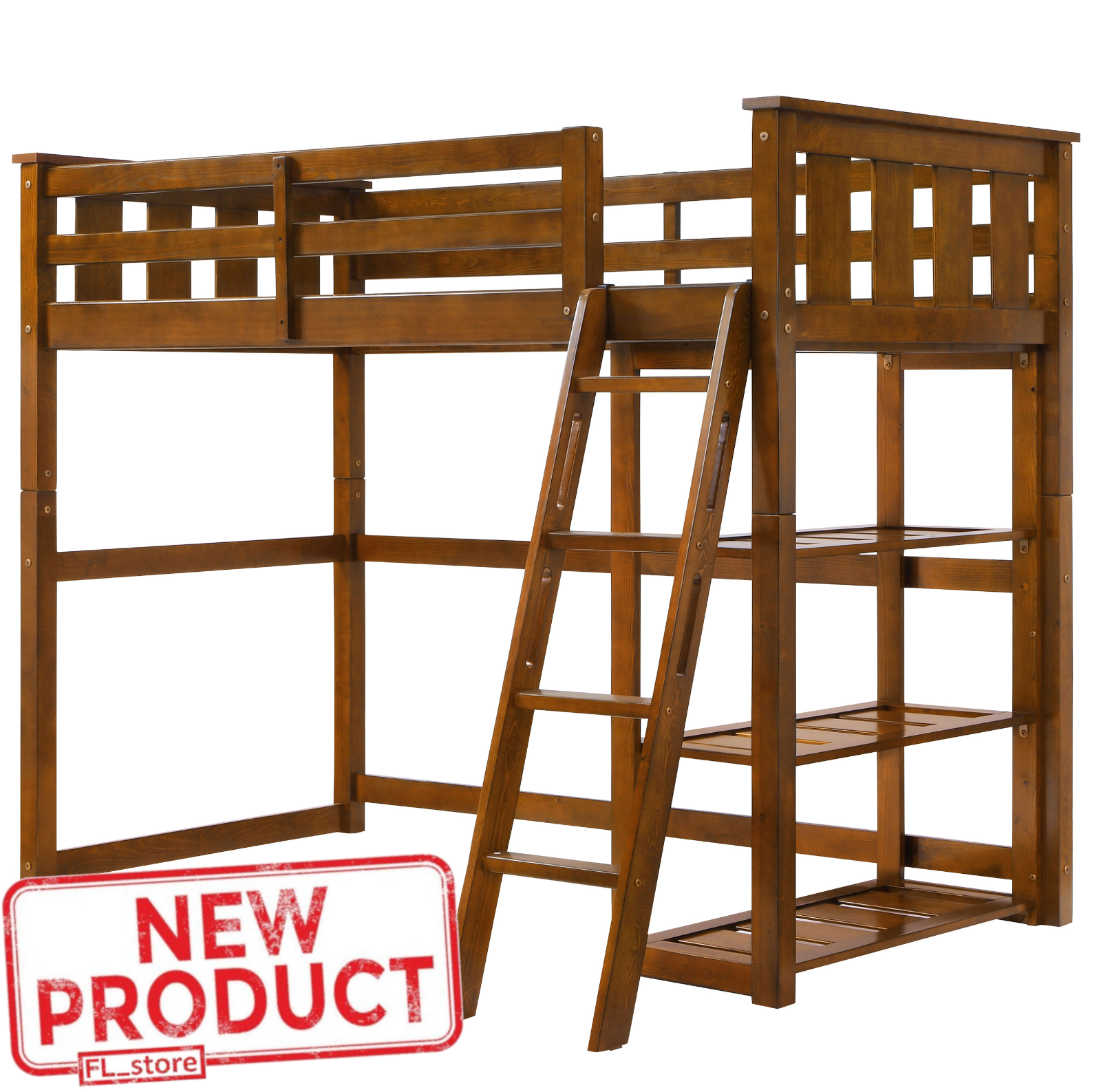 Twin Size Teens Loft Bunk Bed Wooden Home Bedroom Space Save
