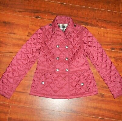 Burberry Kids Red Quilted Trench Jacket 100% Authentic Size 8 y0