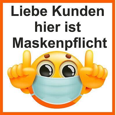 Aufkleber Smiley Maskenpflicht Mund Nasen Schutz Gebot Geschäft Gewerbe Sticker