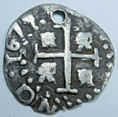 1675 Bolivia Silver 1/2 Reales Full Date Holed Antique 1600