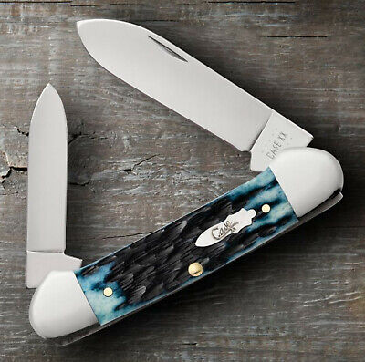 "CASE XX 10887 CANOE POCKET KNIFE PEACH SEED JIG DENIM BLUE BONE 3 5/8"" 62131 SS"
