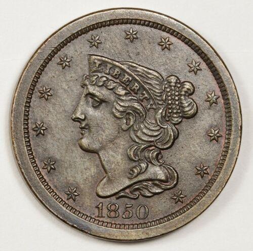 1850 Half Cent.  Pretty Coin.  Natural Brown A.U.  148742