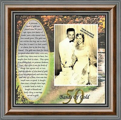 **NEW** Bands of Gold, Personalized 50th Wedding Anniversary Picture Frame, 6779 ()