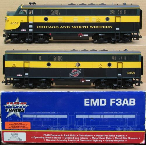 USA Trains R22255 CNW/Chicago & North Western F3 A/B Diesel Engines G-Gauge LNIB