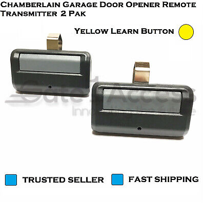 Chamberlain Garage Door Opener Remote Transmitter Yellow Learn Button 2 Pak (Chamberlain Garage Door Remotes)