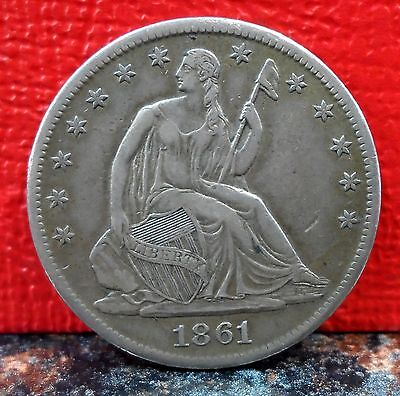 BEAUTIFUL 1861 S CIVIL WAR SILVER SEATED LIBERTY HALF DOLLAR & DIE CRACK ERROR