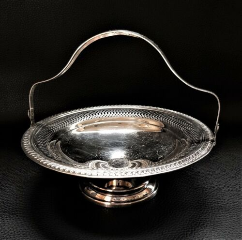 Vintage FB Rogers Silver Co. Silver on Copper Plated Basket Candy Dish w Handle