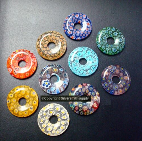 10 Millefiori Glass Donuts 29mm 1 1/8 in diameter multi-colored GBS063
