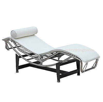 Le Corbusier LC4 Chaise Wave Lounge Chair White Top Gr. Leather Stainless Frame Corbusier Chaise Lounge Chair