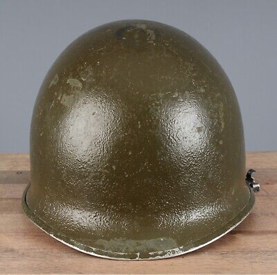 Vtg WWII US Army M-1 Front Seam Fixed Bale Helmet Shell & Liner #1219 WW2 for sale  Shipping to Ireland