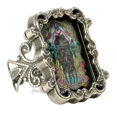Disney The Little Mermaid URSULA CAMEO Stained Glass Filigree  Ring ADJUSTABLE (Little Mermaid Rings)