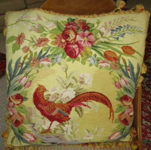 Antique Large Decorator Tapestry Pillow Tasseled Trim PHEASANT Flowers Elegant