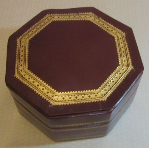 """antique estate LEATHER BOX gilt embossed hinged octagon 5x2.5"""" jewelry dresser"""