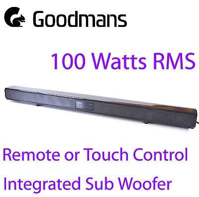 Goodmans 100W 2.1 Bluetooth Soundbar RCA 3.5mm Optical Input Subwoofer Mountable
