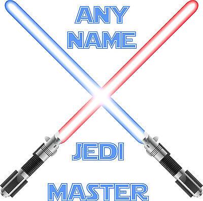 Personalised Named Star Wars Wall Art, jedi light sabre vinyl sticker sign