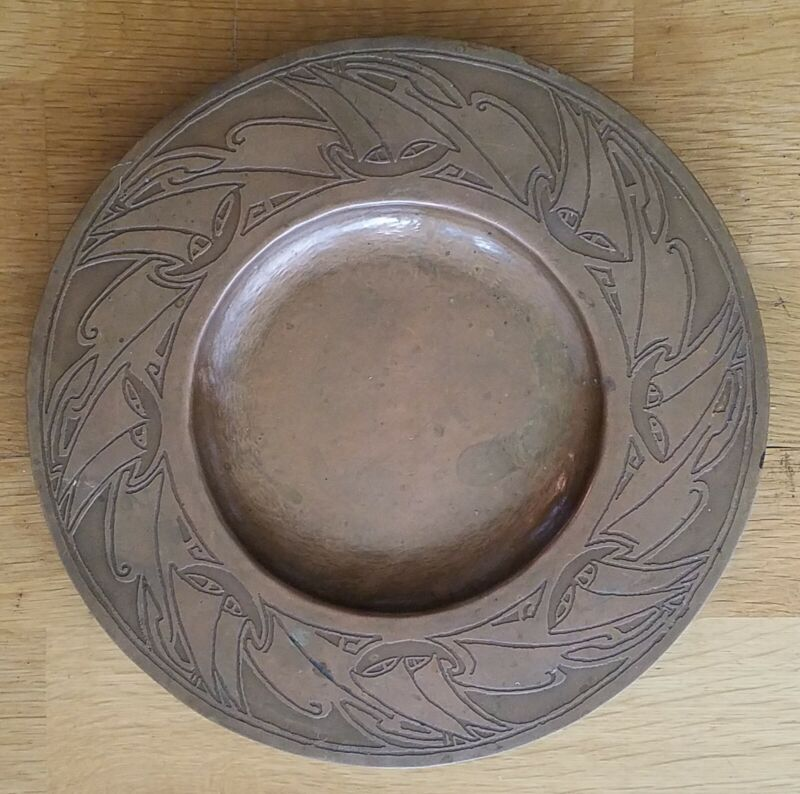 """Antique 10"""" Arts & Crafts Etched Hammered Copper Tray w/Boats Sails Stickley Era"""
