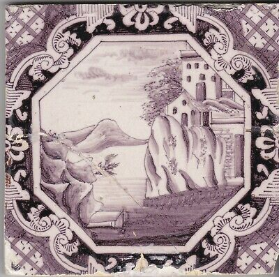 Delft Tile 18th - 19th century   (T 24)       rocks sea & church