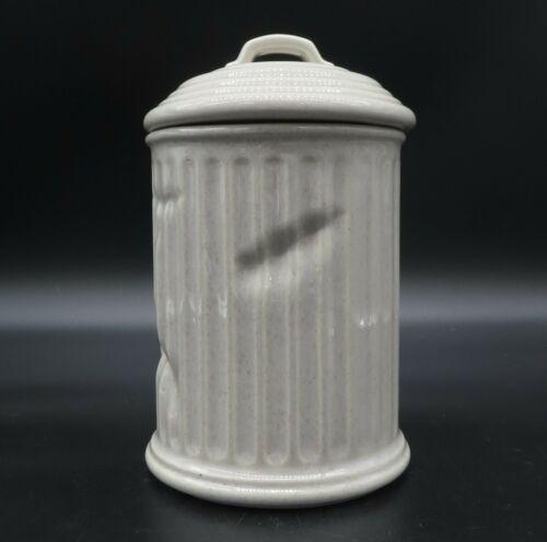 Vintage McCoy USA Ceramic Cookie Jar Trash Garbage Can Pottery Canister Lid 356