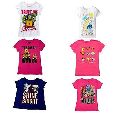 Girls T-Shirts Inside/Out Monster High Snoopy Ninja Minion Pikachu Pokemon NWT](Monster High New Girls)