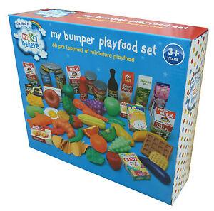 60 PIECE CHILDRENS PLAY FOOD SET PRETEND PLAYFOOD SHOP KITCHEN COOKING KIDS TOY