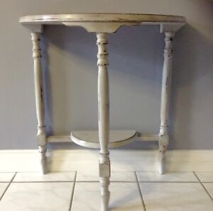 Refinished Vintage Half Moon Table in Aged Grey