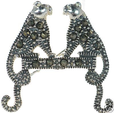 Solid 925 Sterling Silver Marcasite Cat Pin Brooch ' Solid Sterling Silver Cat Pin