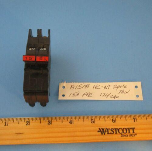 """FPE 15 Amp 120/240V 2P Breaker NC-NI Plug On Thin 1"""" Stab-Lok Handle Tied"""