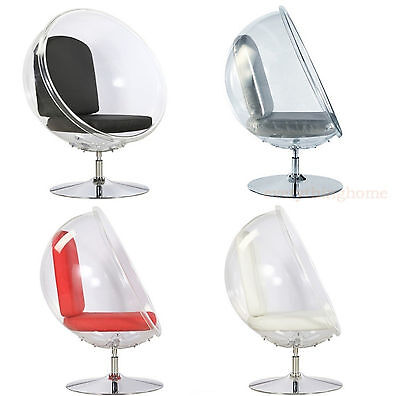 CLEAR ACRYLIC AARNO BUBBLE BALL CHAIR FLOOR STAND-WHITE SILVER RED BLACK CUSHION
