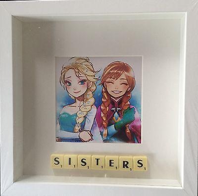 Frozen Photo Frame (WHITE FRAME SISTERS FROZEN PHOTO SCRABBLE TILE PICTURE SIMPLY)