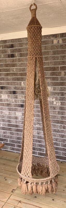 "Vintage Macrame Hanger Sculpted Woven Braided Large 76"" Fiber Art"
