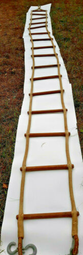 Vintage Nautical Ship Jacobs Ladder Round Wooden Rungs Wire Rope 20ft