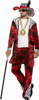 Big Pimp Daddy Kostüm für Herren + Hut Macho Zuhälter Rapper - Zuhälter Kostüm