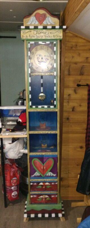 Sticks USA Hand Made Folk art Grandfather Clock Moon Face Hearts Shelf Signed