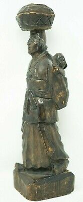 Excellent Antique Hand-craved Chinese Woman woodworking Carrying Child