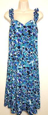 Dressbarn Size 12 A-Line Dress Blue Black Watercolor Stretch Ruffles Straps