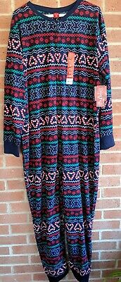 Jammies For Your Families Womens One Pc Pajamas Sz M Christmas Gingerbread