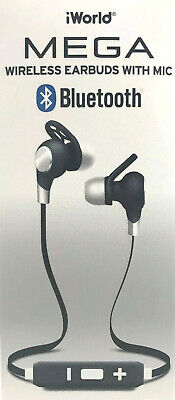 75b13f1f955 Wireless Earbuds With In-Line Mic iWorld MEGA Bluetooth Noise Isolating NEW