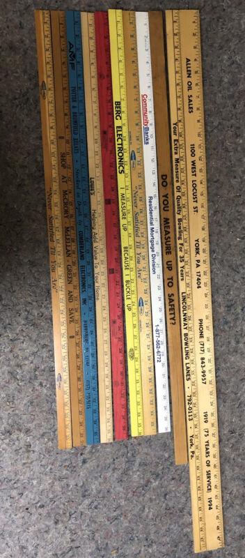 Lot of Vintage Advertising Yard Sticks - Meter - 48 Inches
