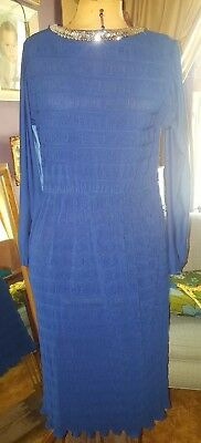 Vintage 70s 80s Cobalt Blue Fit And Flare Dress sz.15-16  Union USA Made shine - 70s And 80s Clothes